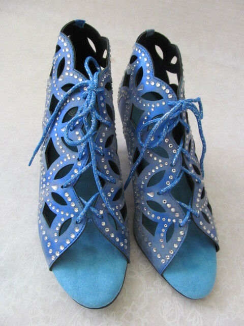 89 JOAN BOYCE Blau OUT CUT OUT Blau DENIM RHINESTONE OPEN TOE Schuhe SIZE 9 M - NEW 0ff4f1