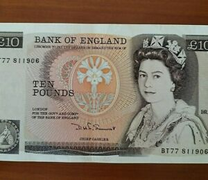 England-10-Pounds-Banknotes-QE-II-DHF-Somerset-Year-1980-VERY-FINE-amp-NICE-Note