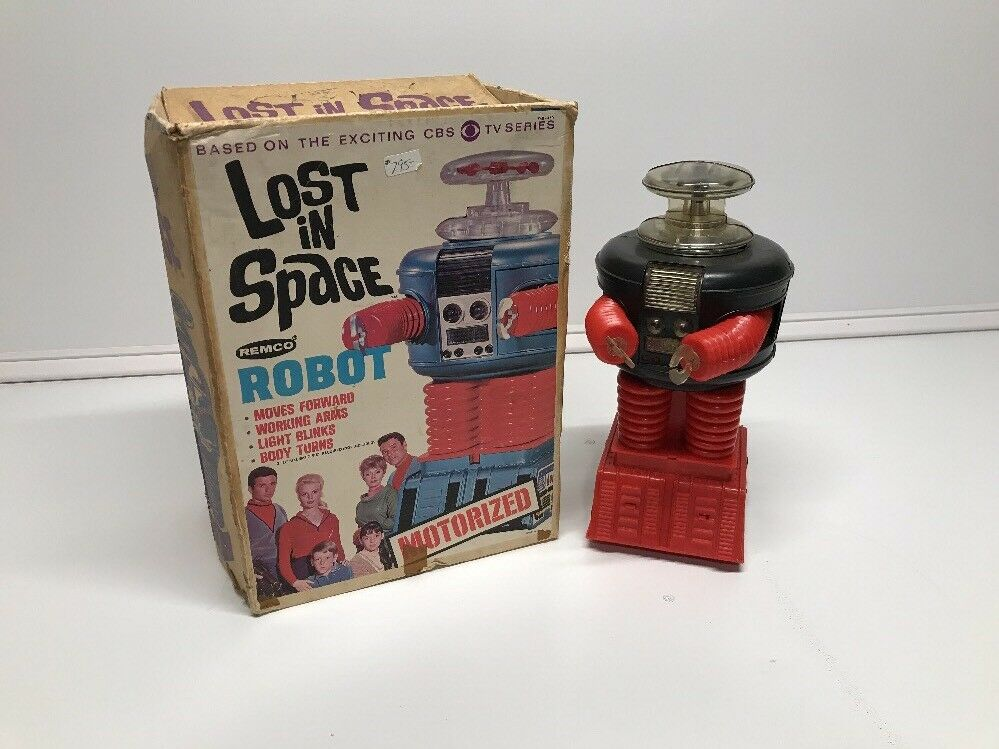 Vintage  1966 LOST IN SPACE TOY ROBOT By REMCO in BOX Light Works