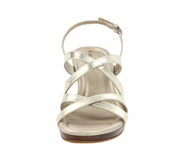 Cole Cole Cole Haan Air Jaynie blanc or Metallic Wedge 1266 Sandals Taille 9 e75373