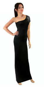 Vestido negro largo con pedreria