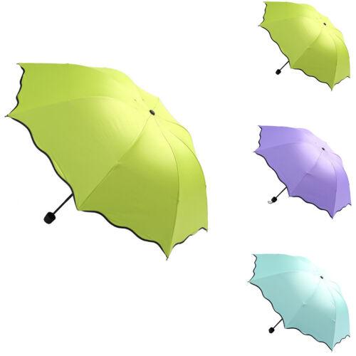 Women Sun//Rain//Snow Anti-UV 3 Folding Umbrella Magic Flower Parasol