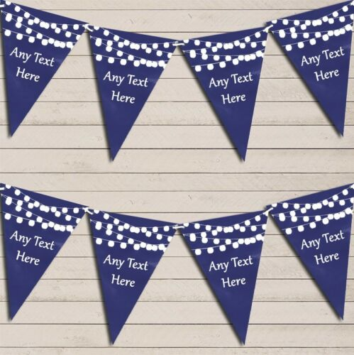 Navy Blue Watercolour Lights Birthday Bunting Garland Personalised Flag Banner