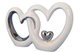 Moderne-Skulptur-Doppeltes-Herz-mit-Herz-h-13-cm-x-b-19-cm-Figur-weiss-silber