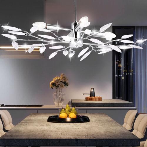 Design Pendel Leuchte Blätter Kristall Hänge Decken Wohn Zimmer Lampe klar