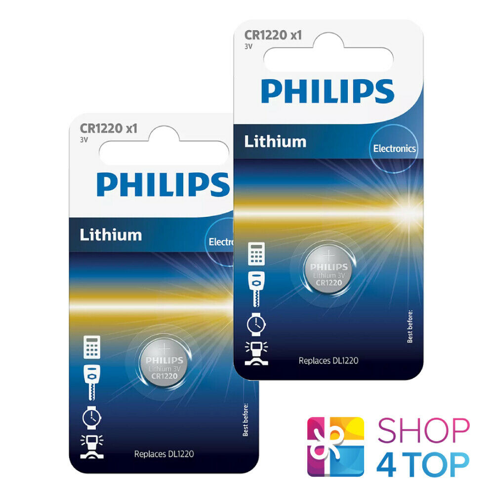 2 Philips CR1220 Lithium Batteries 3V Cell Coin Button DL1220 1BL Exp 2023 New