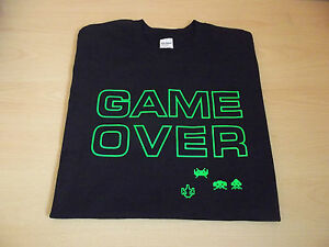 RETRO-GAMERS-T-SHIRT-GAME-OVER-DESIGN-S-M-L-XL-XXL-SPACE-INVADERS