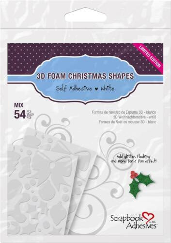 Mix 54 pieces  by SCRAPBOOOK ADHESIVES 01217 3D Foam Christmas Shapes White
