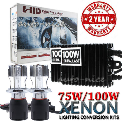 AC 75W 100W HID Headlight Kit H1 H4 H13 9003 9004 9007 Single High and Low Beam