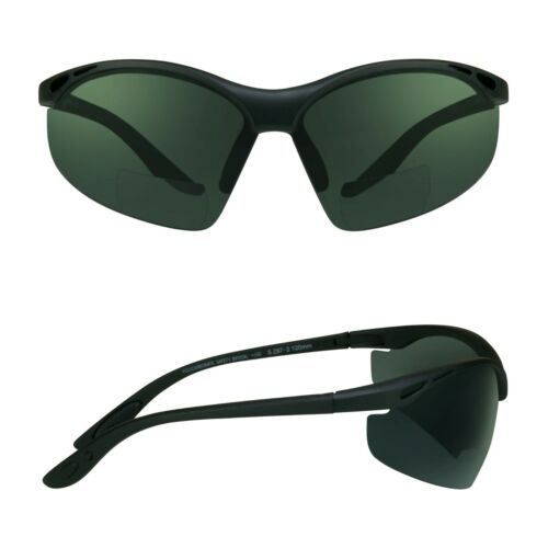 Z87 SAFETY BIFOCAL Sunglasses Dark Tinted Reading Glasses Sport Wrap Sun Readers