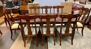 Ethan Allen Large Mahogany Dining Room Set Table & Eight ...