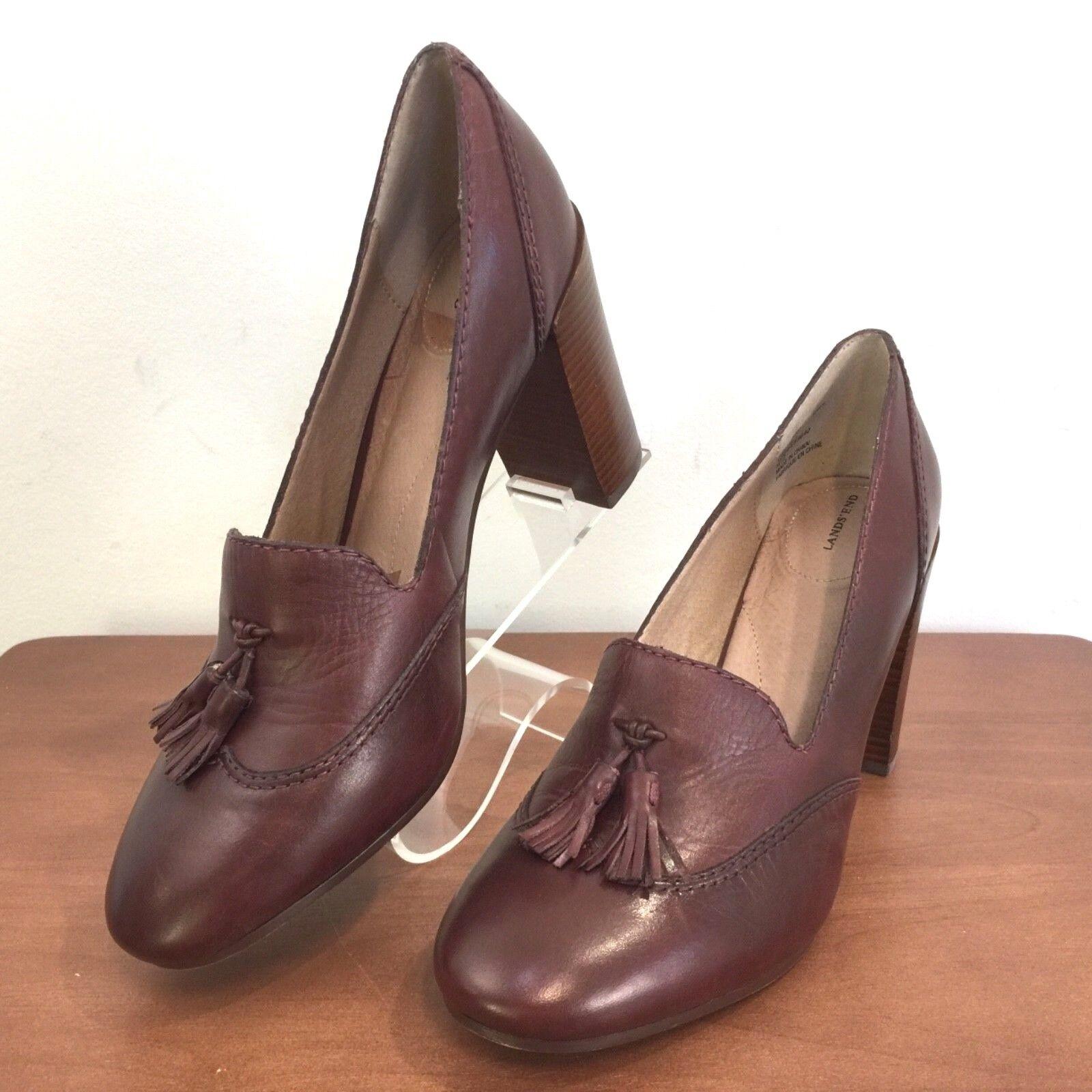 Lands End Stowe Sz 8B Burgundy Leather High Heel Tassel Pumps chaussures femmes 8B