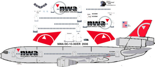 Northwest final DC-10-30 airliner decals for Revell 1//144 kits