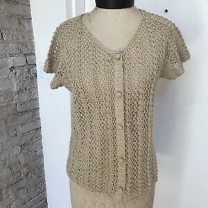 Vintage Womens Sweater Hand Crochet Cardigan Soft Tan Covered