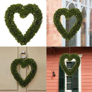 Christmas Heart Wreath.Details About Christmas Heart Wreath Fake Plant Unlit For Garden Shop Outdoor Festive Decor