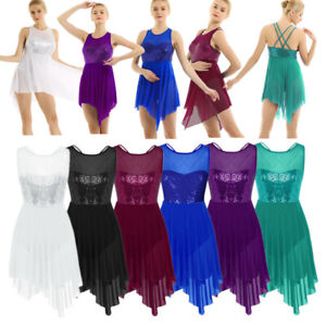 Women-Lyrical-Dance-Dress-Sequined-Ballet-Latin-Leotard-Skirt-Dancewear-Costume