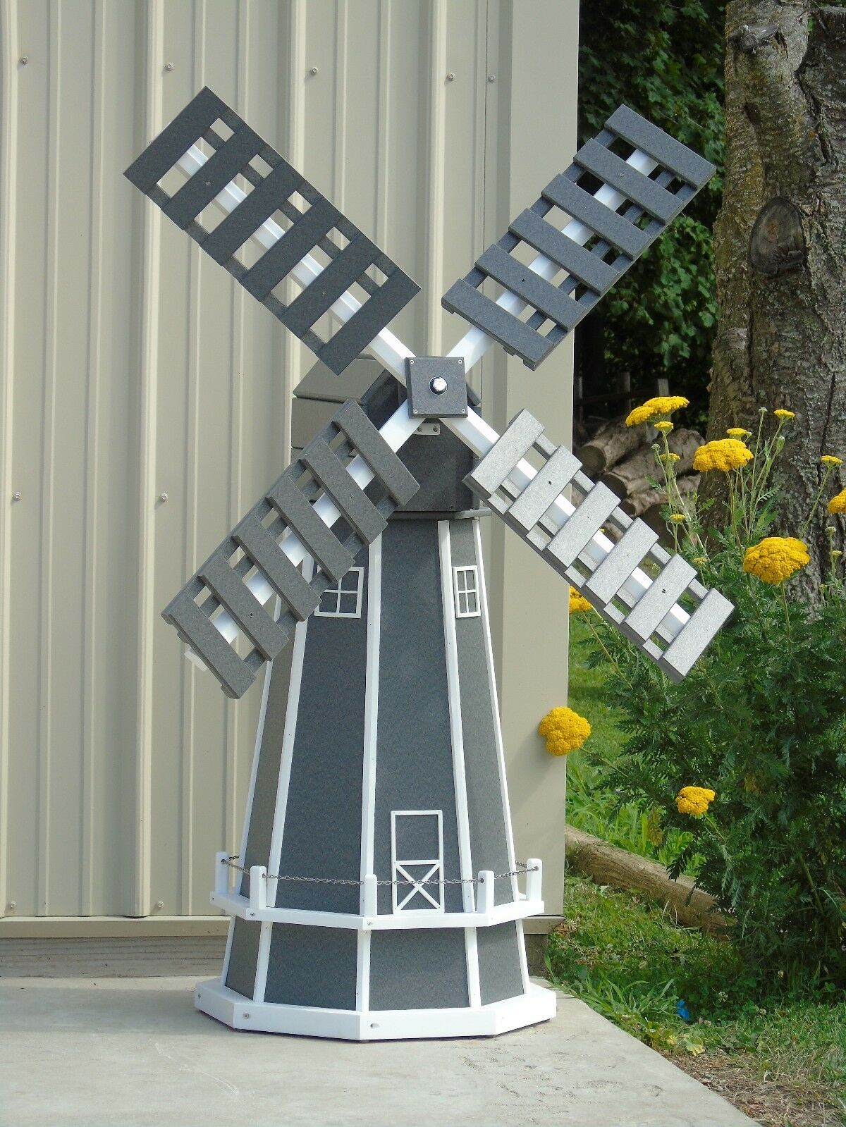 5 ft. Octagon (8 sided) Poly Dutch Windmill (Gray with White Trim)