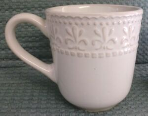 Everyday Gibson Lot Of 2 Embossed Fleur De Lis 8 Oz Coffee Mugs Cups Ebay