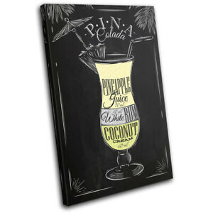 Pina-Colada-Cocktail-Alcohol-Vintage-SINGLE-CANVAS-WALL-ART-Picture-Print