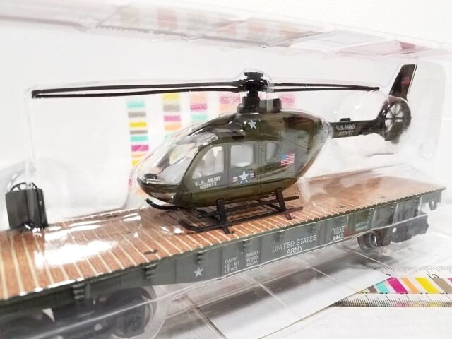 Menards ~ O Gauge Military Flatcar Military Helicopter Mth Lionel Compatible