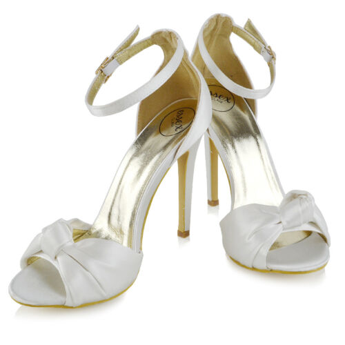 Womes High Heel Ankle Strap Ladies Party Satin Bridal Sandals Peep toe Shoes 3-8