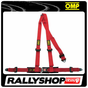 OMP-ROAD-3-3-POINTS-RED-SEATBELT-Harness-Belts-Race-Racing-Rally-DA504061