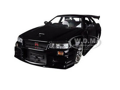 NISSAN SKYLINE GT-R BNR34 BLACK 1/24 DIECAST CAR MODEL BY JADA 96812