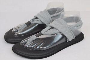 Sanuk Sling Yoga Mat Stretch Fabric Flip Flop Sandals Gray