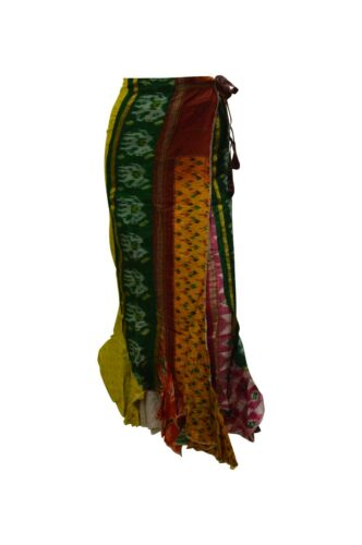 Boho Hippie Style Vintage Création Patchwork volantée Maxi Wrap Jupe 10-18 P169