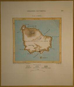1889 Perron map NORFOLK ISLAND, AUSTRALIAN EXTERNAL TERRITORY (#165)