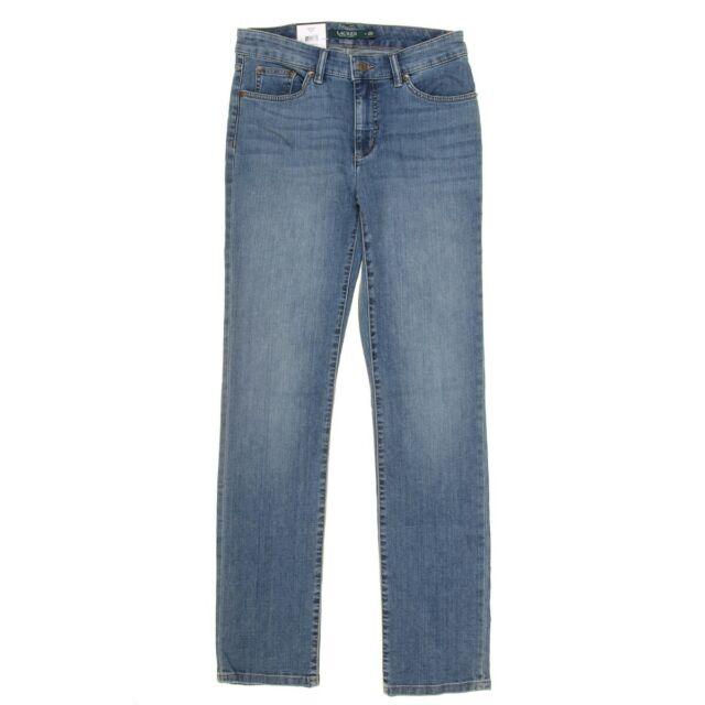 LAUREN RALPH LAUREN NEW Women's Blue Denim Premier Straight Leg Jeans 8 TEDO