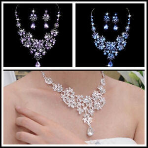 Prom-Wedding-Bridal-Party-Crystal-Rhinestone-Necklace-Earring-Jewelry-Sets