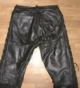 WOW-Herren-SCHNUR-LEDERJEANS-Biker-Lederhose-in-schwarz-in-W33-034-L32-034