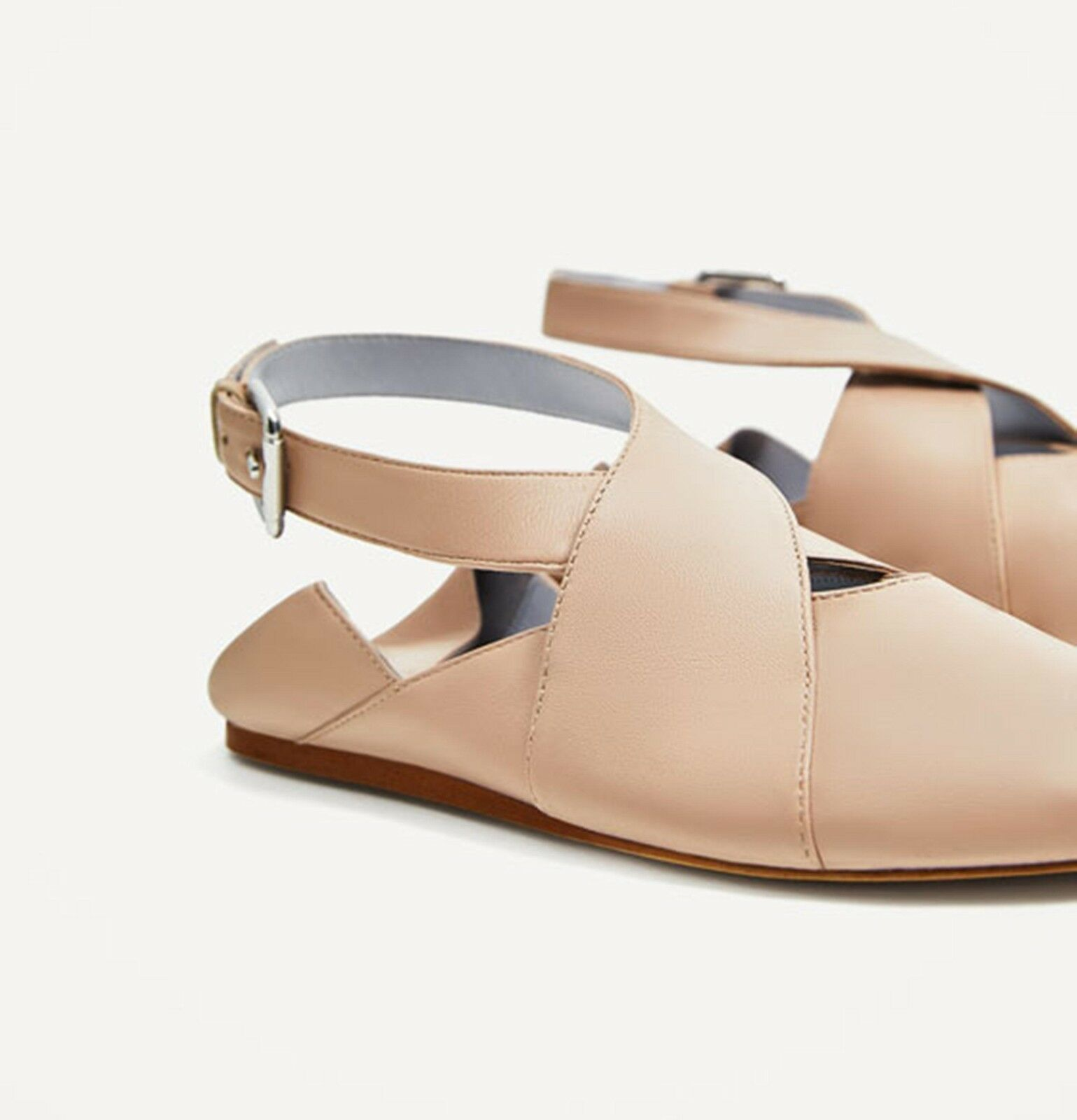 ZARA BUCKLE FLAT LEATHER SHOES WITH BUCKLE ZARA NUDE SIZE 6 UK 39 EU 8 US 590e8b
