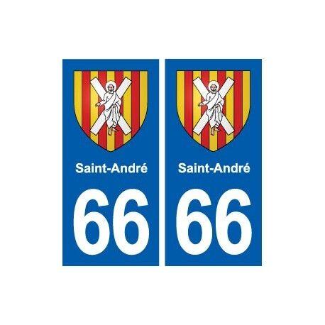 66 Saint-André blason autocollant plaque stickers ville -  Angles : droits