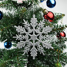 12Pcs Trendy Glitter Snowflake Christmas Ornaments Xmas Tree Hanging Decoration