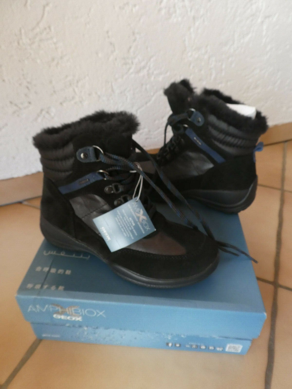 Damen Geox NEU Hellin 35 schwarz e2075aokg54864 Stiefel