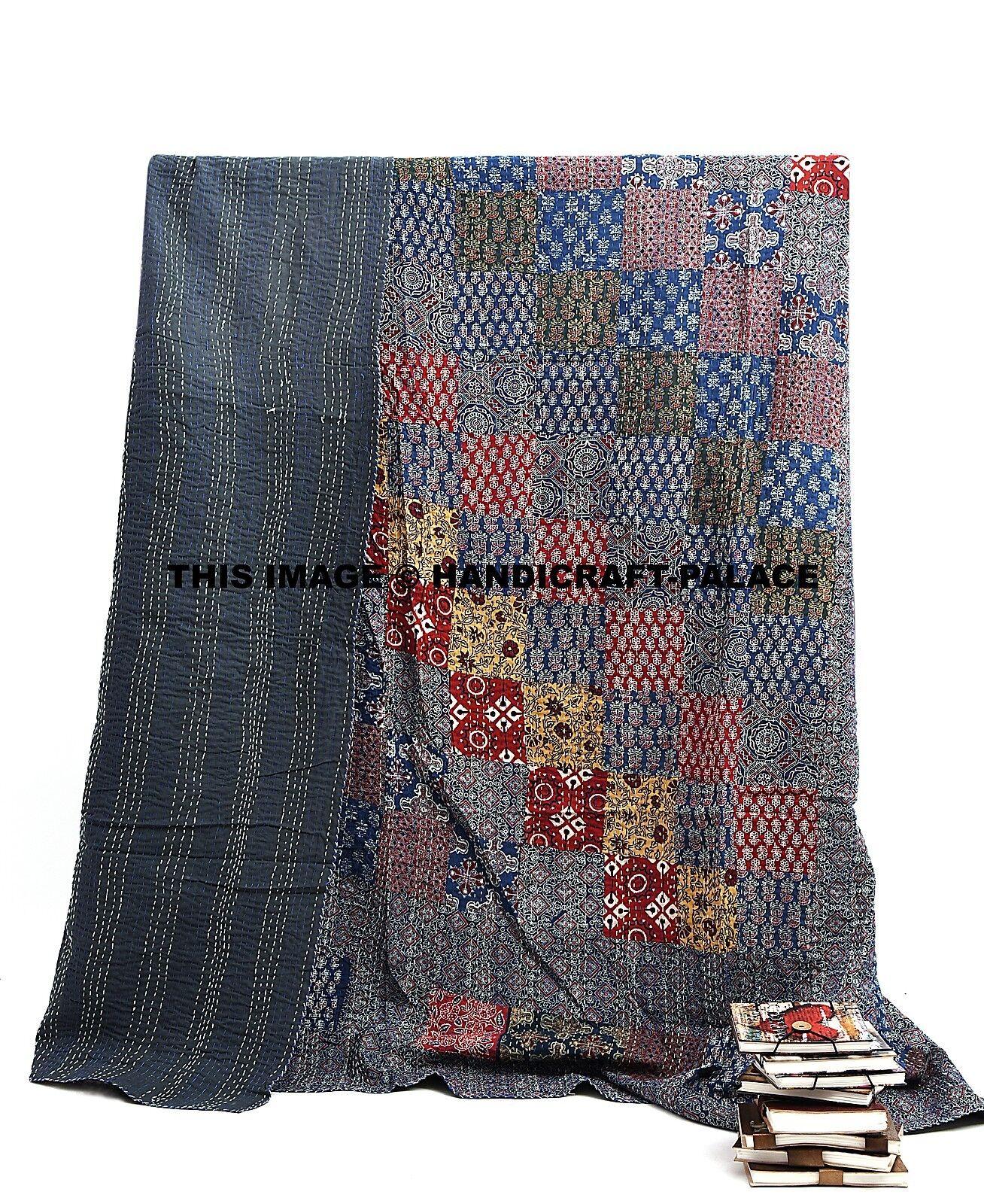 Indian Patchwork King Kantha Quilt Vintage Ajrakh Bedspread Throw Cotton Gudri