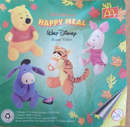 McDonalds Happy Meal Toy 1998 Winnie The Pooh + Friends Sticky Paws Various