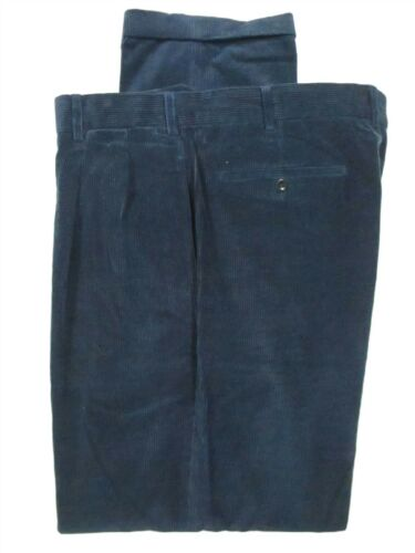 Incotex Mens Blue Pleated Cotton Cashmere Corduroy