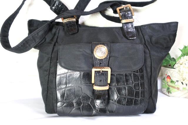 Vintage GIANNI VERSACE Black Nylon Leather Tote Shoulder Bag Medusa Face  Italy e7a55d1e2b8e4