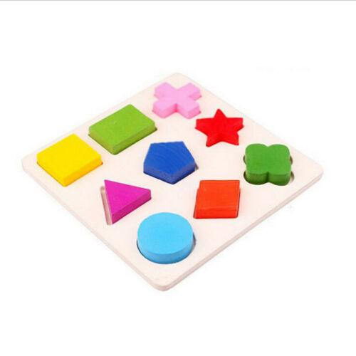 Shape Wood Puzzle Jigsaw Early Learning Baby Kids Educational Developmental Toys