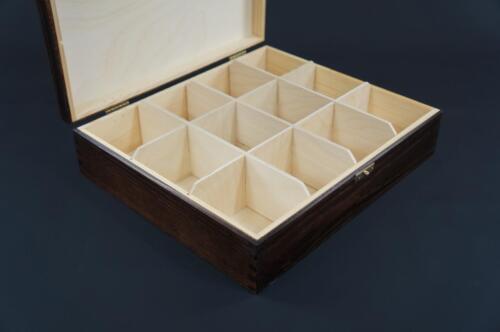 1x Brown Wooden Tea Box Tea Caddy Kitchen Chest 12 Compartments Storage H12b