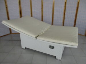 Lettini In Rattan Sintetico.Lettino Piscina Rattan Sintetico Bianco Per Esterno Cm 100x200