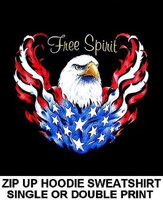 PATRIOTIC AMERICAN PRIDE USA BALD EAGLE FLAG BORN FREE PULLOVER SWEATSHIRT WS515