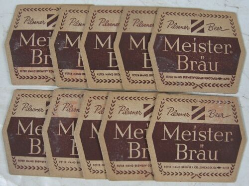 10 Vintage Beer Coasters Meister Brau Beer Peter Hand Chicago