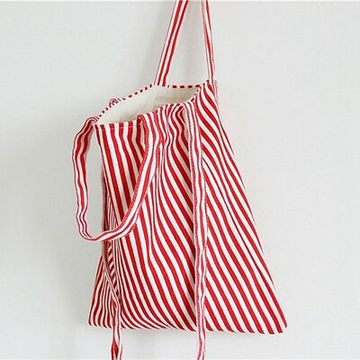Newly Female Eco Storage Handbag Canvas Striped Tote Shoulder Bag Shopping Bags