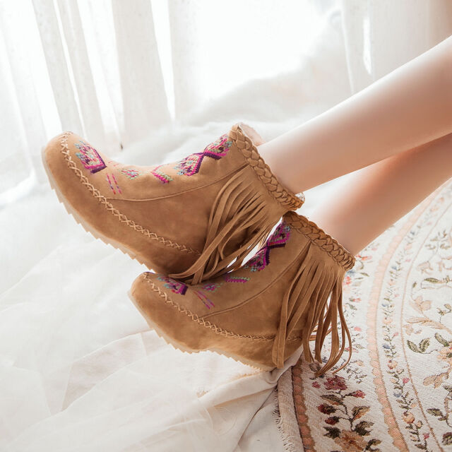 Fashion HOT Womens Boho Tassle Hidden Wedge Moccasin Ankle new Boots Shoes Plus