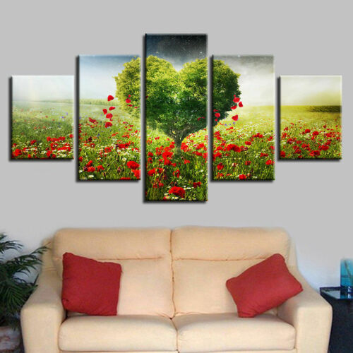 Romantic Green Heart Tree Poster Red Flowers Wall Art Home Decor 5p Canvas Print