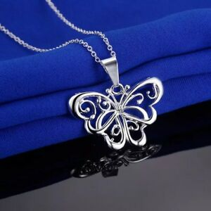 Womens-925-Sterling-Silver-Butterfly-Pendant-Necklace-18-Link-Chain-N115